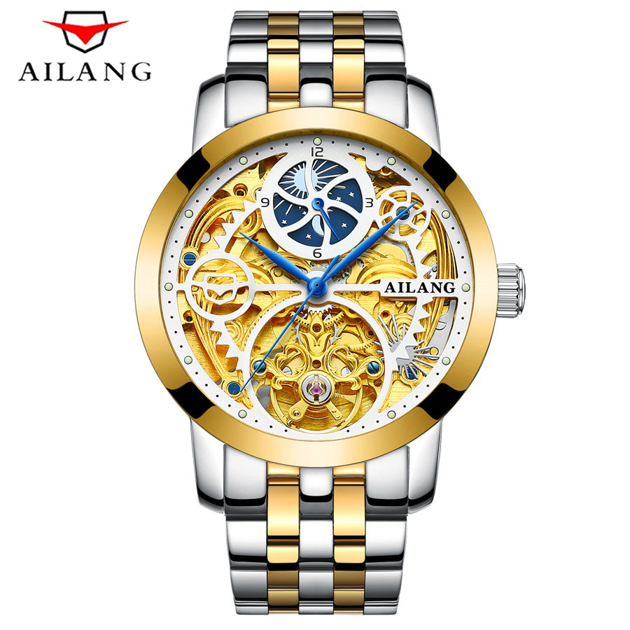 AILANG Skeleton Watch Full Stainless Steel Mechanical Watch Men Designer Mens Watches Top Brand Luxury Clock Gold Male Relogio 500ml 6bottles set led flexible uv ink for epson r280 r290 r330 l800 1390 1400 uv printer dx5 dx7 uv led ink bk c m y 2white