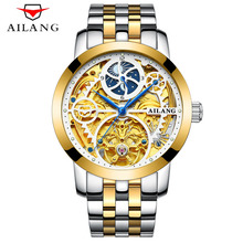 AILANG Skeleton Watch Full Stainless Steel Mechanical Watch Men Designer Mens Watches Top Brand Luxury Clock Gold Male Relogio