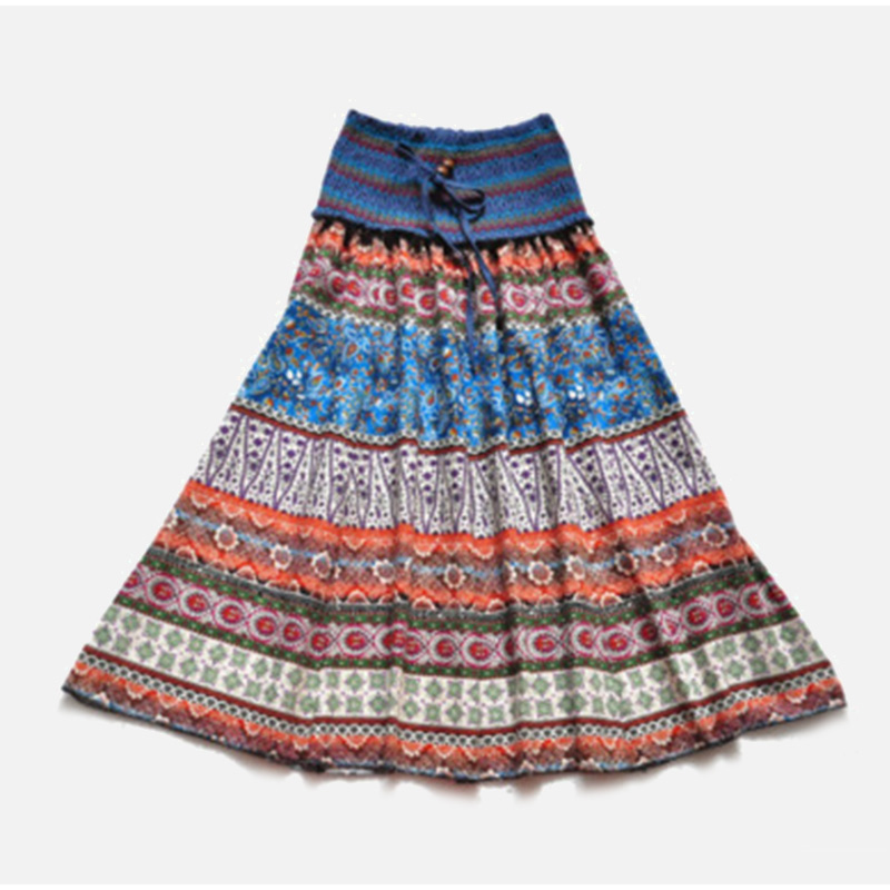 HTB1Hb2USQvoK1RjSZFDq6xY3pXaj - Boho Floral A-line Women's Maxi Skirt Elastic High Waist Sashes Vintage Pleated Womens Skirts Summer Fashion Clothes Female