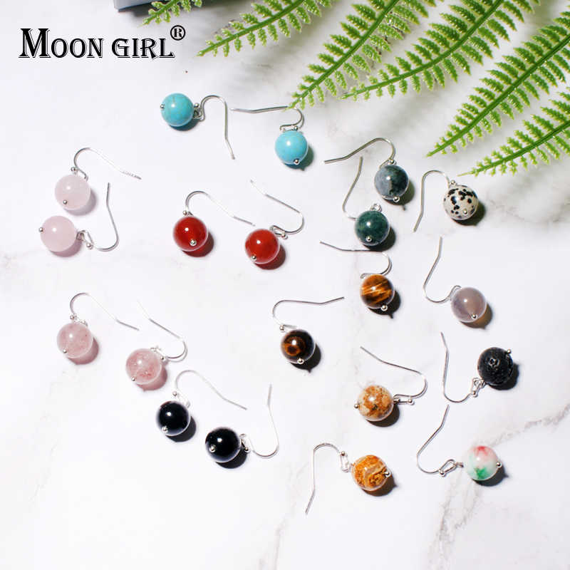 MOON GIRL 10MM Natural Stone Tiger Eye Drop Earring for Women Simple Unique Design Lava Stone Diffuser Party Dangle Earring Gift