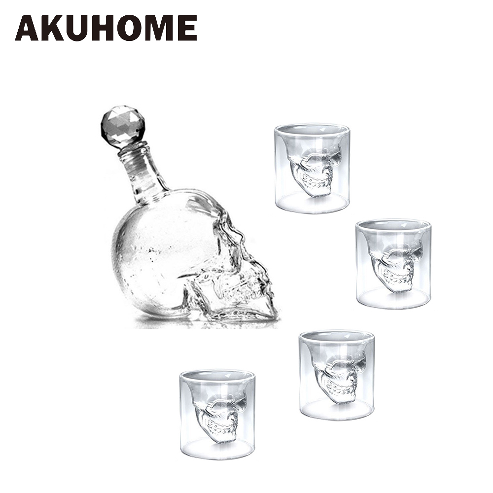 5 pcs Condamné Tête de Crâne En Verre Tasse Bière Tasse de Vin En Verre Tasse Cristal Whisky Vodka Café Tasse 25 ml ~ 150 ml Cadeau Bouteille AKUHOME