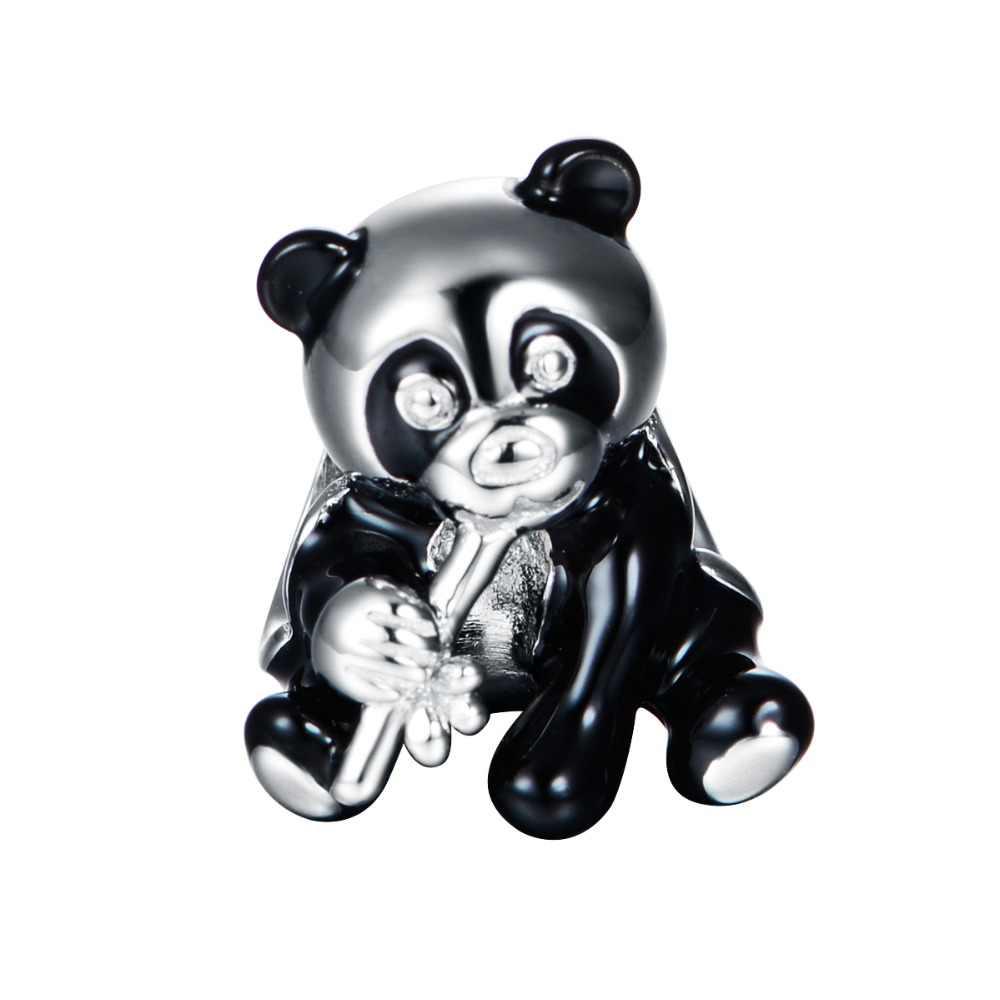 Шарм-бусина из серебра 100% пробы, с пандой