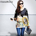 2017 New Hot Sales Attractive Luxury Women Blouses Chiffon Bohemian Totem Print Loose Batwing Sleeve Shirt Free Shipping Nov 8