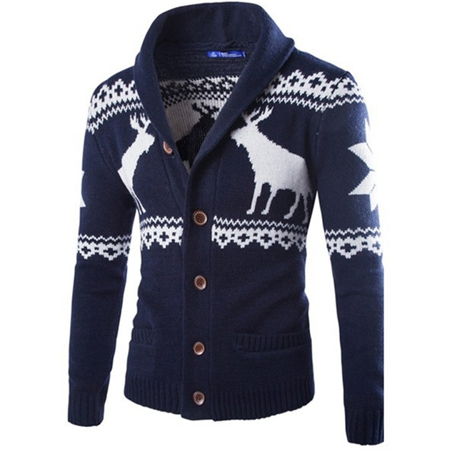 New 2017 Knitwear Fashion Cardigans Men Sweaters Turn Down Collar Animals Printed Pullovers Sweaters Plus Size For Mens Clothes