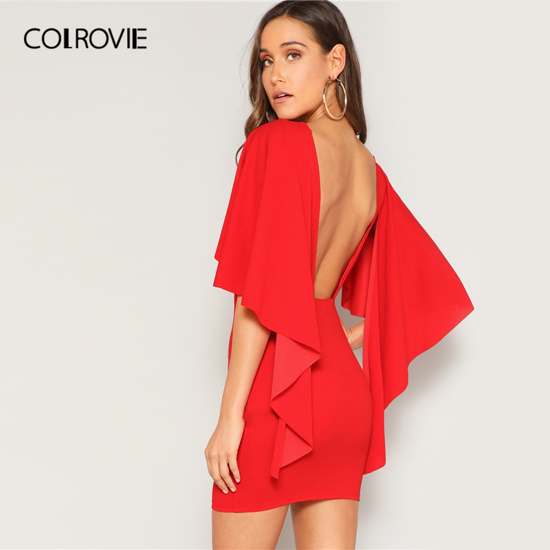 COLROVIE Red Solid Ruffle Open Back Cloak Sleeve Bodycon Sexy Dress Women 2019 Summer Slim Fit Glamorous Party Short Dresses