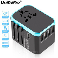 Travel Adapter Worldwide Universal EU/UK/US/AUS Electric Plug Socket Converter AC Power 4 USB Type C Charger Adapter for Tablets