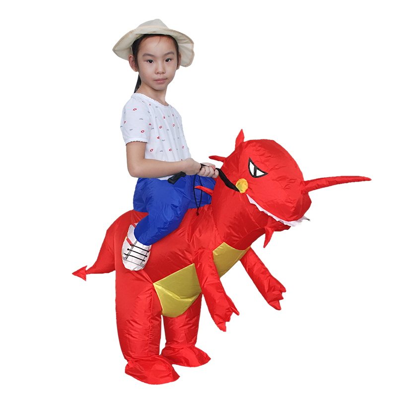 Inflatable Red Dinosaur Kids Costume T Rex Cosplay Clothes For Girl Boy Riding Horse Toy Halloween Party Carnival Dress Blow Up