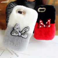 Soft Warm Rabbit Fur Hair Cases Ring Stand Crystal Luxury DIY Diamond Phone Cover Handmade Back