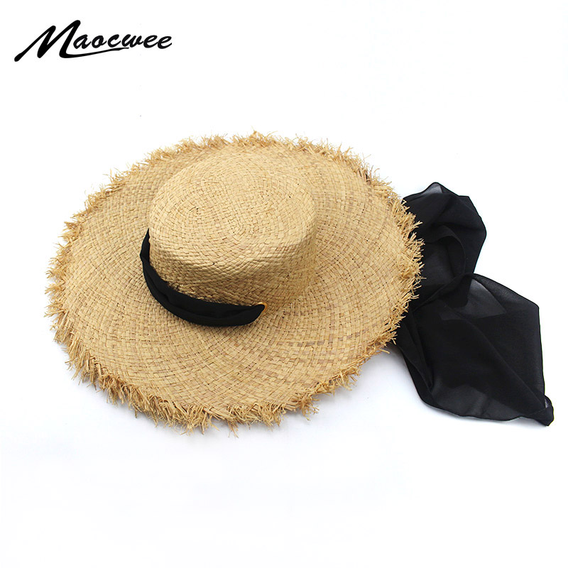 f4f2f6125d5 2018 STAR Handmade Panama Hats For Women Wide Large Brim Beach Sun Hats  With Fashion Long Belt Visor Hat Raffia Straw Wholesale