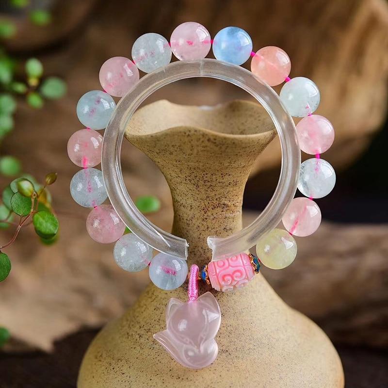 Gros couleur pierre naturelle cristal Bracelets perles rondes avec renard pendentif Bracelet chanceux pour fille cristal Bracelet bijoux