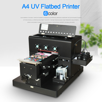 A4 Größe UV Drucker 6 Farbe Für Leder Telefon Fall/PVC Platte/Acryl Platte/Holz/Metall platte Uv-flachbettdrucker Mit UV Tinte