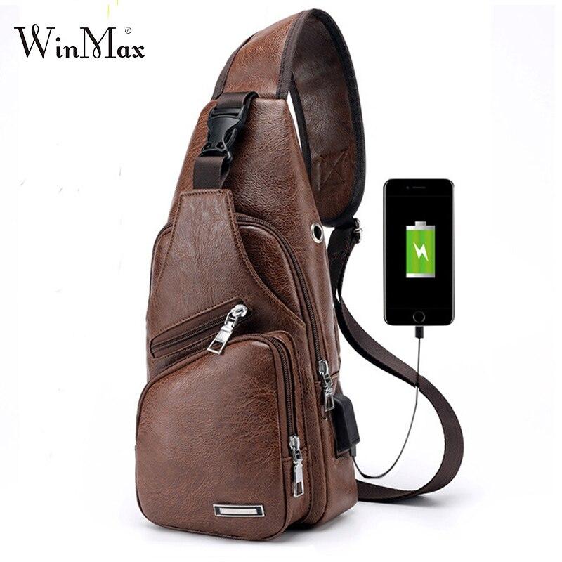 4e1152731ba7 High Quality Men s Chest Bag Leather USB Shoulder Bag Anti Theft Charging  Bag Summer Short Travel Male Messenger Bag 2018 New