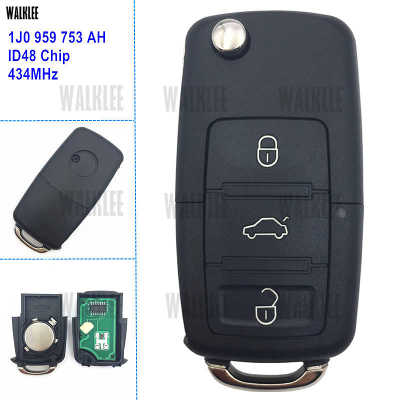 WALKLEE 1J0 959 753 AH 753AH Remote Key Fit for VW/VOLKSWAGEN 1J0959753AH Passat Bora Polo Golf Beetle with HU66 Blade qcontrol 433mhz upgrade remote key for skoda octavia superb fabia 1j0 959 753 p 753p or 1j0 959 753 g 753g