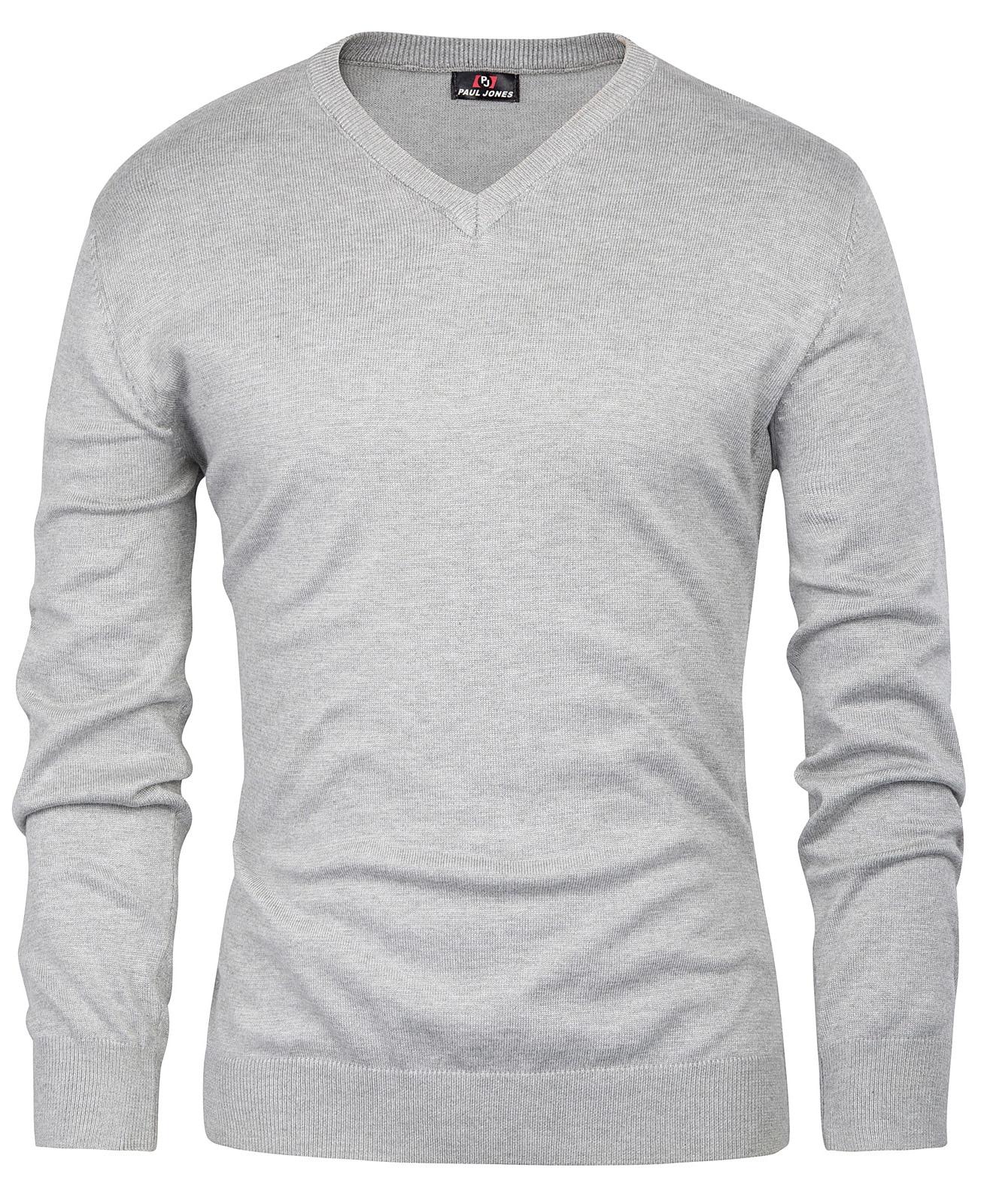 Pj Men\'s Stylish Long Sleeve V-neck Pullover Knitting Sweater Tops Handsome Wear