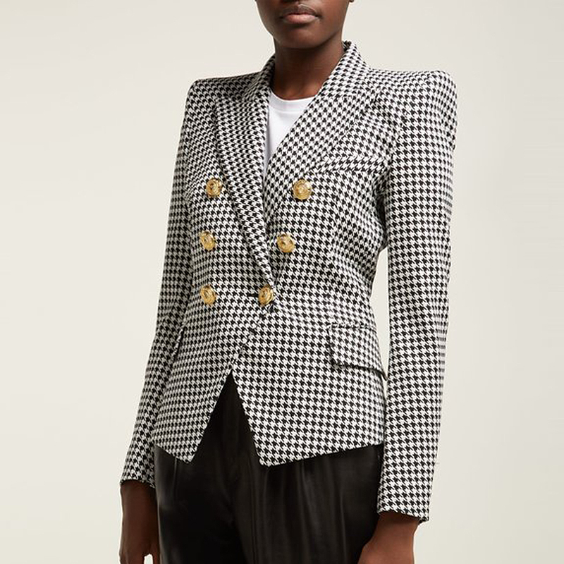 HIGH STREET Stylish 2020 Runway Blazer Women's Double Breasted Lion Buttons Houndstooth Career Blazer Jacket