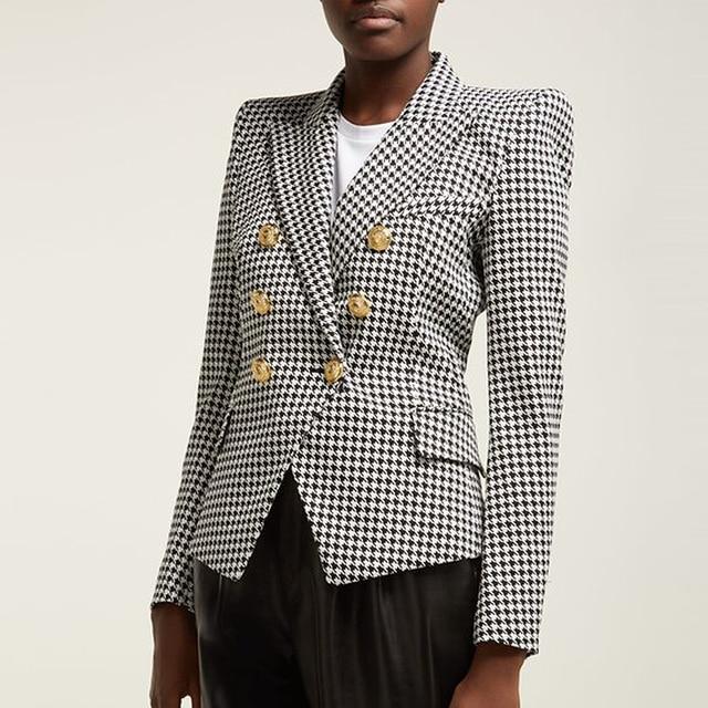 High street elegante 2020 runway blazer feminino duplo breasted leão botões houndstooth carreira blazer jaqueta