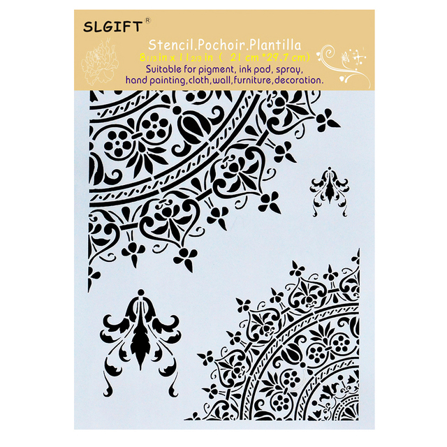 A4 Size Mandala Stencils for Wall Painting and Decoration