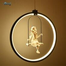Nordic Aluminium Ring Meisje Swing Hanglamp voor Woonkamer Slaapkamer Studie mooie Vogel opknoping lamp art deco kids Licht armatuur