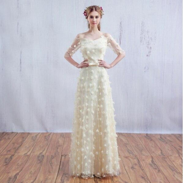 75cfd47ab0 Color champagne vestidos de novia princesa fuera del hombro vestido de noche  largo elegante modesto vestido de los vestidos para las mujeres vestidos de  ...
