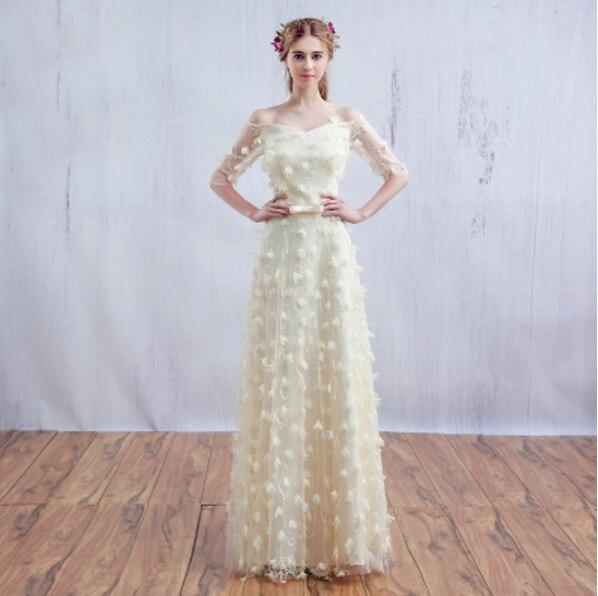 color champagne vestidos de novia princesa fuera del hombro vestido