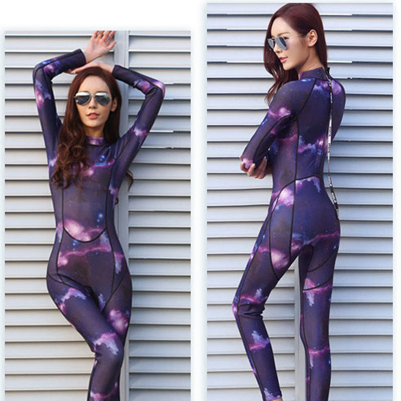 Wetsuits Womens 3 mm Full Suit Neoprene Diving Wet Suit for Lady Girls Youth XS S M L XL XXL Digital Printed Starry Sky lady xxl