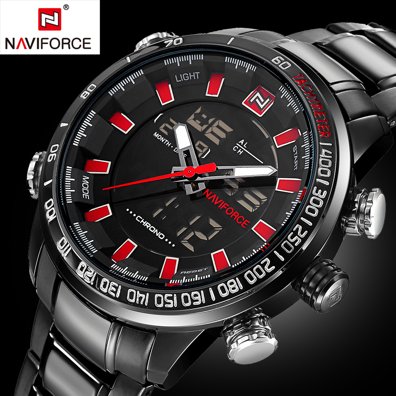 New NAVIFORCE Mens Watches Top Brand Luxury Full Steel Quartz Men's Watch Men Fashion Sport  Wristwatch Relogios+box design for men full steel watch quartz fashion hot sale relojes male watches fashions luxury round dial famous brand relogios