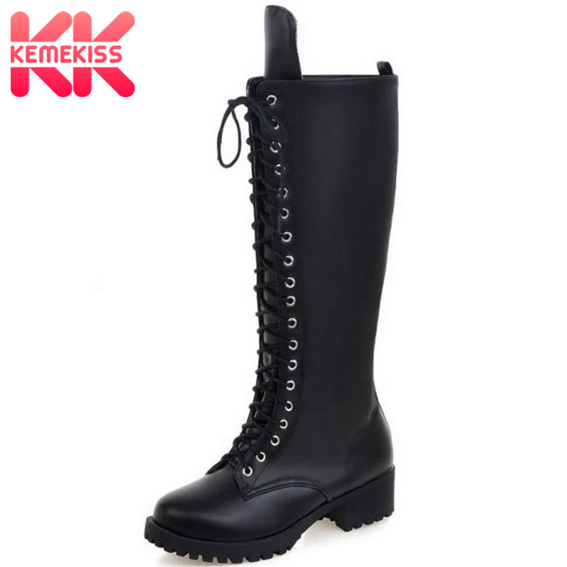KemeKiss New Designer Womens Square Low Heel Riding Motorcycle Heel Knee High Boots Punk Gothic Platform Lace Up Shoes Size34-43KemeKiss New Designer Womens Square Low Heel Riding Motorcycle Heel Knee High Boots Punk Gothic Platform Lace Up Shoes Size34-43