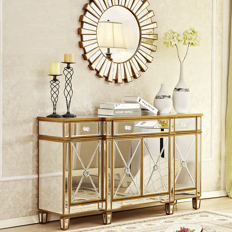 Simmer Mirror & Glamour Gold Console Cabinet / Side Furniture / Living Room Storage