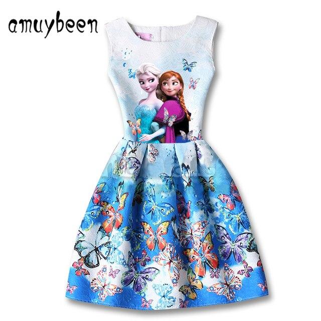 93785d805c Amuybeen 2017 Dzieci Letnie Sukienki Dla Dziewczynek Księżniczka Dorywczo  Drukuj Wzór Party Elsa Sukienka Ubrania Dla
