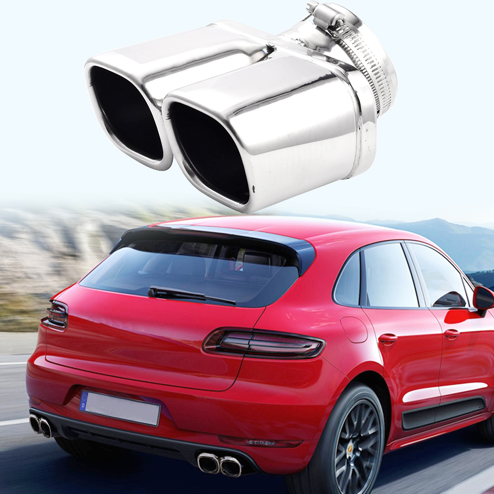 Car Stainless Steel Dual Muffler End Exhaust Trim Tail Pipe Auto