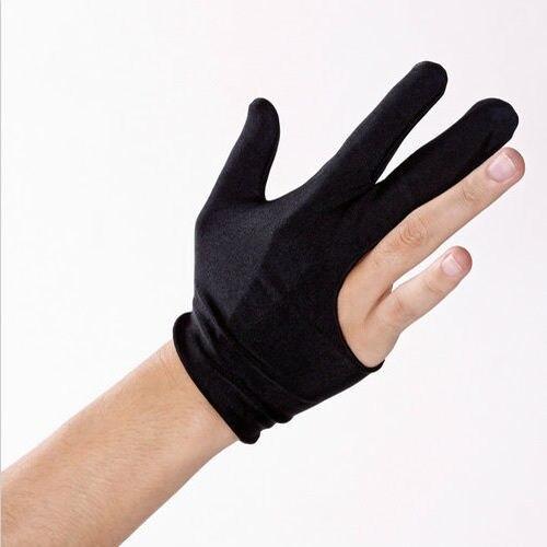 Guantes negros de billar con 3 dedos