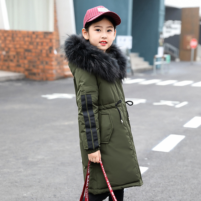 Girls Down Jacket Winter Thick 2018 Brand Fashion Long Warm Coat for Children Hooded Outerwear for Big Girl Clothing 8 10 14 2017 new winter fashion women down jacket hooded thick super warm medium long female coat long sleeve slim big yards parkas nz18