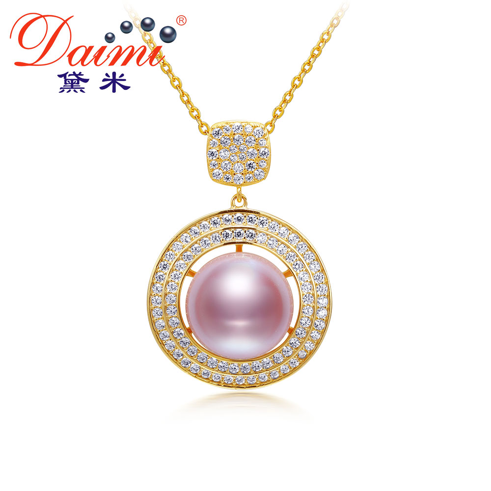 DAIMI 10-10.5mm Natural Pearl Necklace Real 925 Sterling Silver Pink Lavender Pearl Pendant Necklace for WomenDAIMI 10-10.5mm Natural Pearl Necklace Real 925 Sterling Silver Pink Lavender Pearl Pendant Necklace for Women