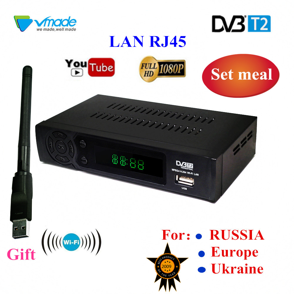 HD video audio TV box DVB T2 digital signal receiver set top box terrestrial digital TV receiver h.264 DVB T2 FTA Lan RJ45 WIFI-in Satellite TV Receiver from Consumer Electronics