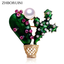 ZHBORUINI High Quality Natural Freshwater Pearl Brooch Cactus Breastpin Jewelry For Women Gift Accessories