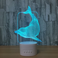 Dolphin 3d vision stereo lamp action figures bluetooth speaker best gift nightlight cartoon characters creative best gifts Y98
