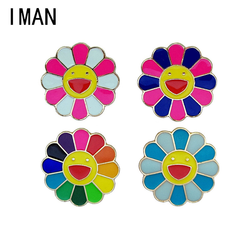 Enamel Pin Cute Cartoon Expression Drip Brooch Blossoms Metal Element Twisted Buckle Gift Wholesale Denim Jacket Pin Badge F