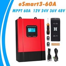 MPPT الشمسية جهاز التحكم في الشحن 60A 12 فولت 24 فولت 36 فولت 48 فولت السيارات LCD عالية لوح شمسي عالي الكفاءة منظم ل ماكس 150VDC المدخلات eSmart3 60A