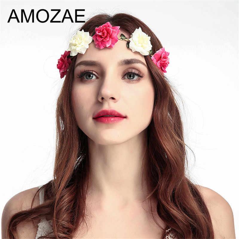 Detail Feedback Questions about Diadem AMOZAE Flower Crown Wedding Bride  Wreath of Flowers Head Band Bohemia Women Hair Accessories Flower Headband  ... f5f272ec8b7