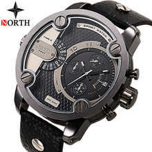 NORTH Mens Watches Top Brand Luxury Sport Quartz Watch Men Big Dial Air Clock Leather Casual Military Watches Relogio Masculino