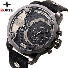NORTH montre à Quartz pour hommes, marque de luxe, haut de gamme, grand cadran, horloge aérienne en cuir, style militaire, décontracté