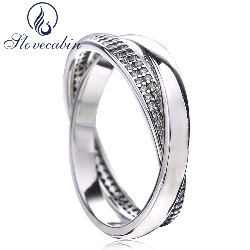 Slovecabin Black Friday Sweet Promise Ring With Clear Cz Fine Jewelry 925 Sterling Silver Comprising Two Wedding Rings Anillos