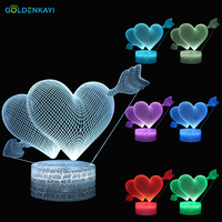 3D Lamp One Arrow and Two Hearts LED Night Lights Cartoon Table Touch Switch Seven Colors Acrylic Night Lamp Gift Decor Light