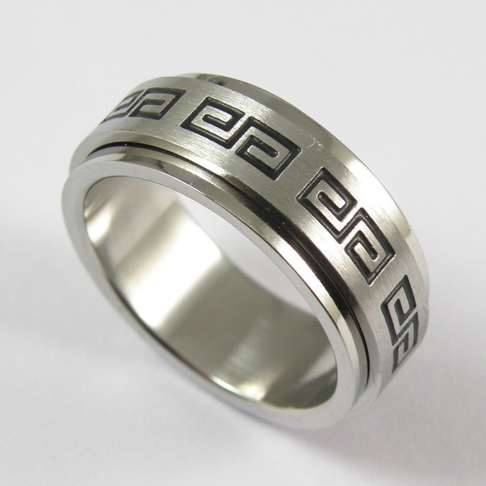 8mm wide 2015 rings 316L stainless steel corrosion Titanium Rings Mens Rings Wall pattern rotating men jewelry wholesale