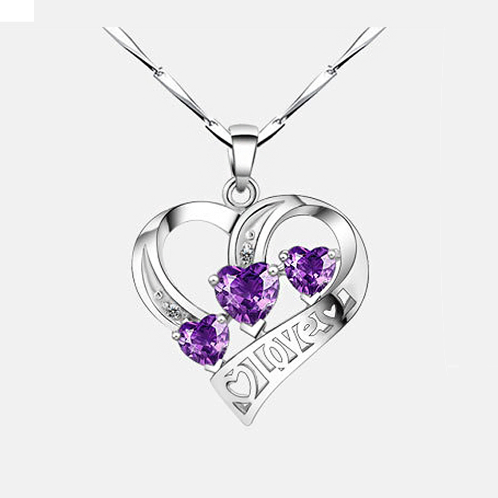 New Brands Women Necklace 925 Silver Jewellery CZ Love Letter Cubic Zirconia Pendant Necklaces So Cheap!!! P280