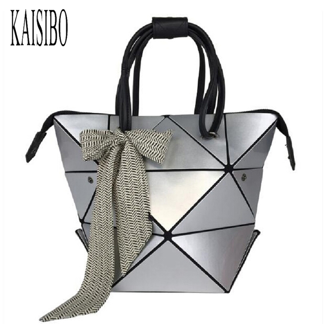 Women Folded Handbags Pu Leather Geometric Plaid Variety Shoulder Bag With Scarves Issey Miyak Diamond Tote