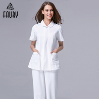 Solid Women Summer Split Work Uniforms Hospital Medical Doctor Nurse Short Sleeve Overalls Beauty Salon Dental Clinic Tops Pants