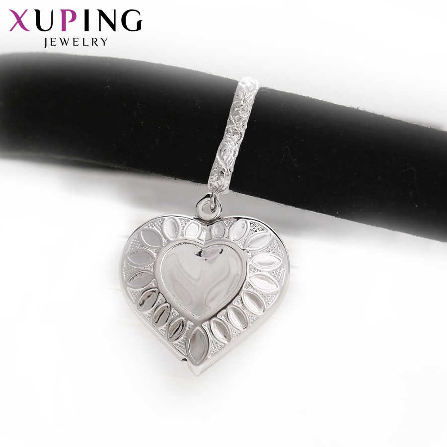 Xuping Elegant Heart Shape Pendant Choker Necklace Rhodium Color Copper Jewelry for Women Christmas Day Gifts S65-43610