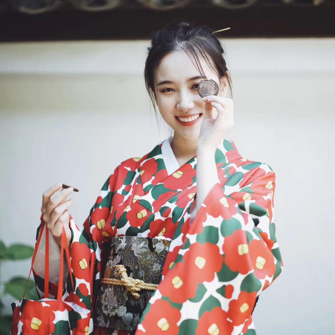 2019 Yukata Female Kimono Cardigan Dress Harajuku Kawaii Style Kimonos Woman Japan Dress Vietnam Clothing Obi Flower Print