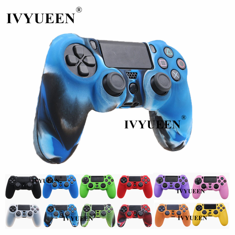 IVYUEEN for Sony PlayStation 4 PS4 DS4 Pro Slim Controller 1 PCS Soft Silicone Protection Case Cover Skin + 2 Thumbsticks Grips sweat block protective skidproof rubber texture grips antiskid shell for sony ps4 playstation 4 controller